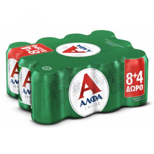 Άλφα Μπύρα Κουτί 330ml 8+4 Δώρο