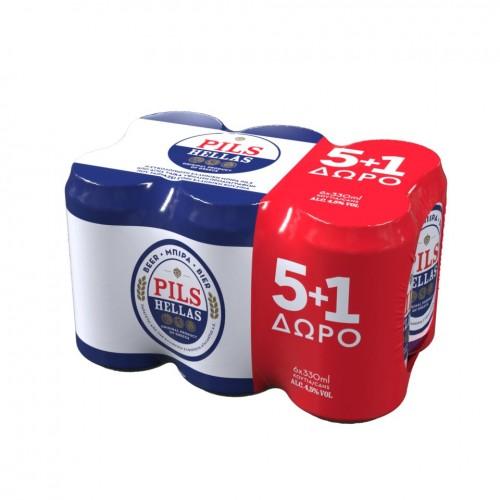 Μπύρα PILS Hellas κουτί 6x330ml (5+1 δώρο)